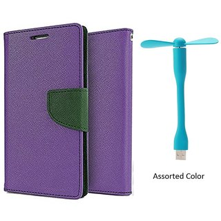 MERCURY Wallet Flip case Cover for Samsung Galaxy Ace NXT G313H (PURPLE) With Usb Fan