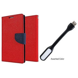 MERCURY Wallet Flip case Cover for  Micromax Canvas Colours A120 (RED) With Smiley data Cable
