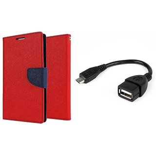MERCURY Wallet Flip case Cover for Reliance Lyf Wind 1 (RED) With micro usb Otg Cable