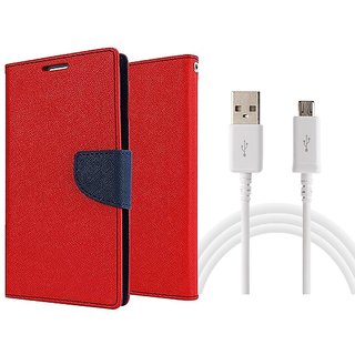 MERCURY Wallet Flip case Cover for  Micromax Canvas Colours A120 (RED) With micro Usb data Cable