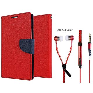 MERCURY Wallet Flip case Cover for  Samsung Galaxy A3 (RED) With Zipper Earphone