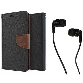 MERCURY Wallet Flip case Cover for Lenovo A2010 (BROWN) With Champ Earphone 3.5mm jack