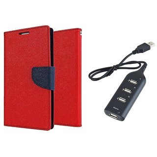 MERCURY Wallet Flip case Cover for Samsung Galaxy Trend GT-S7392 (RED) With Usb hub
