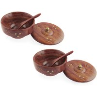 Fancy Bowl Set Of 2 Wooden Covering Plate Lid Free Spoons Kitchen Utensil Home