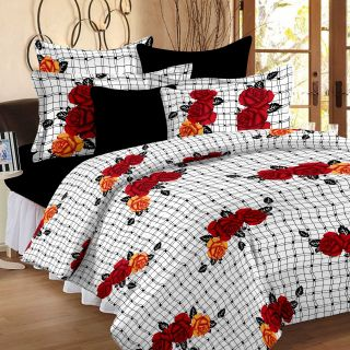 Story@Home 120 TC 100 Cotton Black and White 1 Double Bedsheet With 2 Pillow Cover