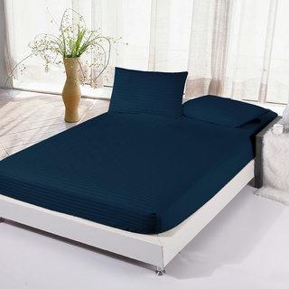Story@Home 300 TC 100 Cotton Satin Stripes Dark Blue