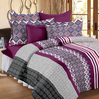 Story@Home 186 TC 100 Cotton Purple 1 Double Bedsheet With 2 Pillow Cover