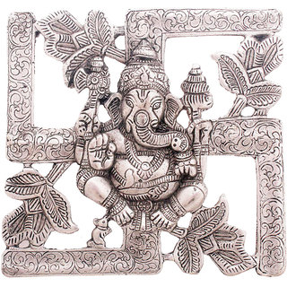 Gomati Ethnic Antique White Metal Swastik Ganesha Hanging