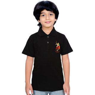 Laima Black Solid Regular Fit Polo Neck Kid's T shirt with Half Sleeve