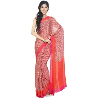 Sudarshan Silks Beige Embroidered Synthetic Saree with Blouse