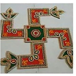 Handicraft Designer Rangoli  Stone Decorations and Red, Green, White, Golden