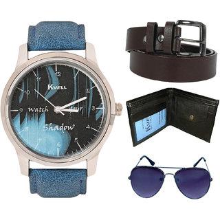 KVELL Men's Watch with Wallet, Assorted es  Brown Belt  Combos-UMW-1130