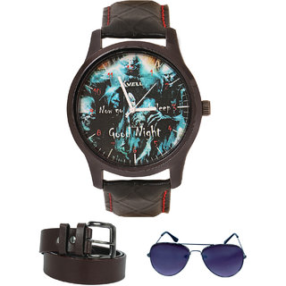 KVELL Men's Watch with Assorted es  Brown Belt  Combos-UMW-1137
