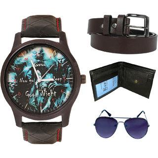 KVELL Men's Watch with Wallet, Assorted es  Brown Belt  Combos-UMW-1143