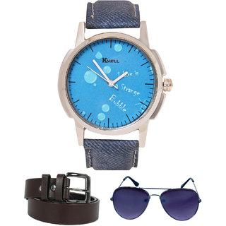 KVELL Men's Watch with Assorted es  Brown Belt  Combos-UMW-1150