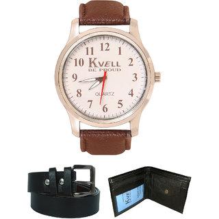KVELL Men's Watch with Wallet  Black Belt  Combos-UMW-1229