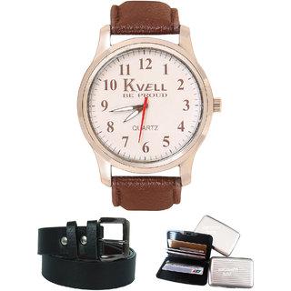 KVELL Men's Watch with Card Holder  Black Belt  Combos-UMW-1231