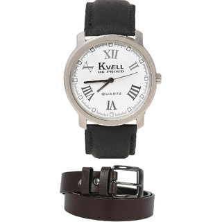 KVELL Men's Watch with Brown Belt  Combos-UMW-1236