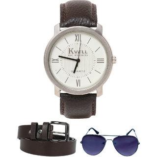 KVELL Men's Watch with Assorted es  Brown Belt  Combos-UMW-1254