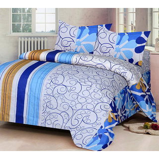 VCS Cotton Blue  White Printed Double Bedsheet With 2 Pillow Cover - Standard Size