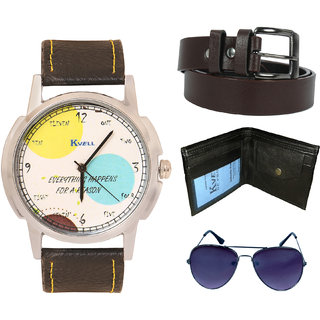 KVELL Men's Watch with Wallet, Assorted es  Brown Belt  Combos-UMW-1117