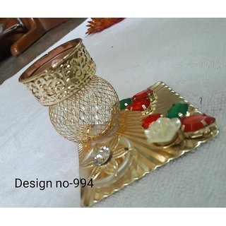 Hand Crafted Festive Decor Crystal Floating Diya (tealight candle holder), clear transparent crystal