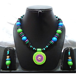 Floro Lime Green and Bright Blue Terracotta Pendant Necklace set