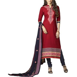 ANKAN Fashions Unstiched Salwar Suit Red ANS03