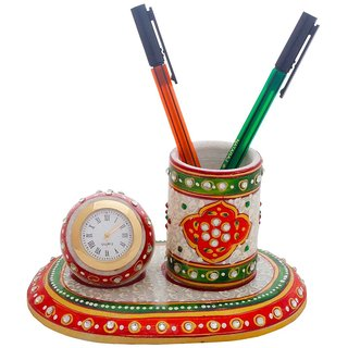 Gomati Ethnic Meenakari Marble Pen Stand n Table Clock