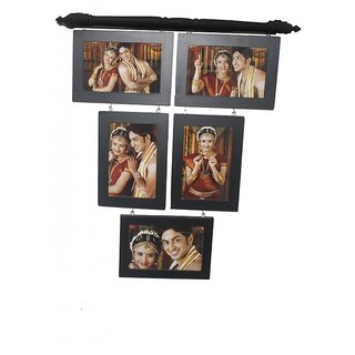 Rangifer Decor Black Wood Matte Finish 5-in-1 Wall Photo Frame Collage