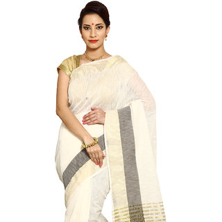 Pavechas White Grey Solid Cotton Silk Saree with Blouse