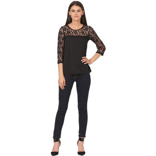 Polyester Long Sleeves Net Top