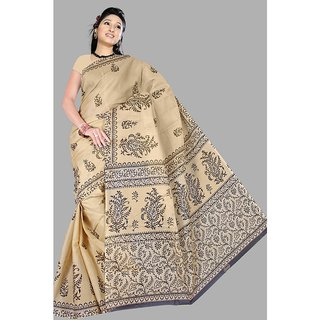 Pavechas Beige Solid Poly Cotton Saree with Blouse