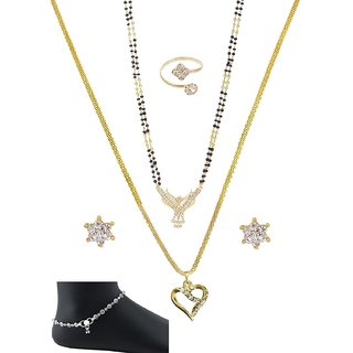 Mangalsutra combo of 6 items Gold Polished Chain  pendent Set, Ring 1 Pair of Silver Aklets  a Pair of Earrings for Wo