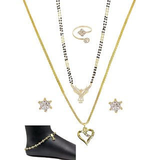Mangalsutra combo of 6 items Gold Polished Chain  pendent Set, Ring, Pair of Golden Anklets  a Pair of Earrings for Wo