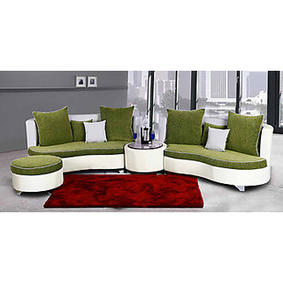 virgo model c shaped sofa green and white with puff