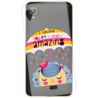 Snooky Printed transparent Silicone Back Case Cover For Intex Cloud 4G
