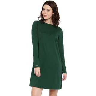 Cult Fiction Dark Green color Full Sleeves Round Neck Cotton Tshirt Dress for womens