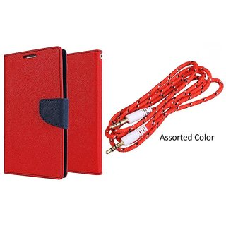 MERCURY Wallet Flip case Cover for HTC One M9 PLUS (RED) With Aux Cable