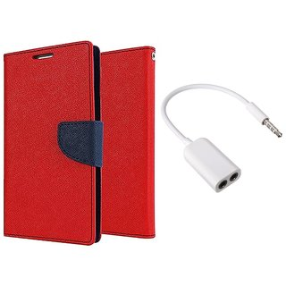 MERCURY Wallet Flip case Cover for  Micromax Canvas 2 A110 (RED) With 3.5mm Jack Splitter