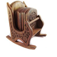 Home Kitchen Dining Décor Wooden Tea Coffee Serving Rocking Chair Shaped Coaster