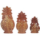 Fancy Wooden Set Of 3 Multipurpose Pineapple Shaped Wall Key Hanger Holder Décor