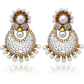 ARUM DESIGNER STONE WITH PEARL WHITE EARRING ADTE-002