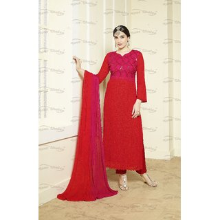 Thankar Pink  Red Embroidered Chiffon Straght Suit