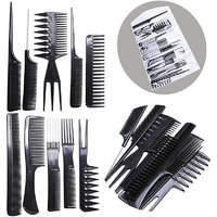 Magideal 10Pcs Pro Salon Hair Cut Styling Hairdressing Barbers Combs Brush Set Black