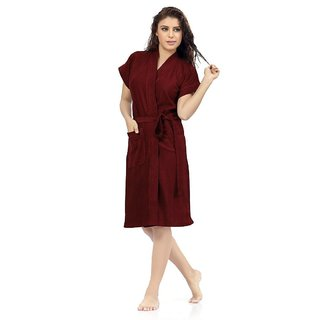 Be You Fashion Maroon Cotton Bathrobe