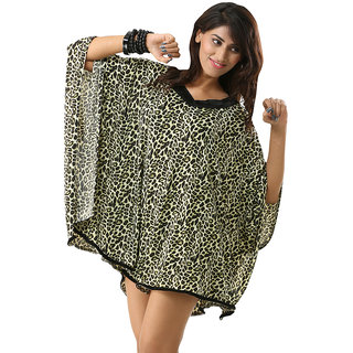 Women's Batwing Sleeve V-Neck Greenish Wild Leopard Print Kaftan Swimwear Cover Up Dress