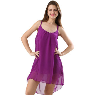 One Piece Dress Spaghetti Strap Back Metal Cross Cutout Sleeveless Purple Color