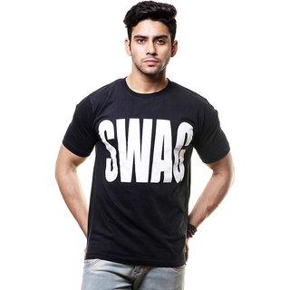 Enquotism Black Round Neck Half Sleeve T-Shirt For Men