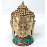 Brass Made God Buddha Head Statue With Stone Work